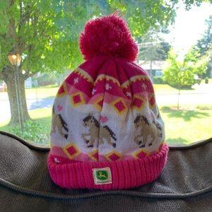 Toddler girl John Deere winter hat